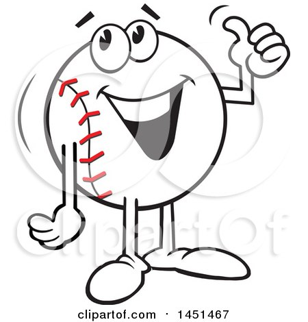Clipart Graphic of a Cartoon Happy Baseball Mascot Giving a Thumb up - Royalty Free Vector Illustration by Johnny Sajem