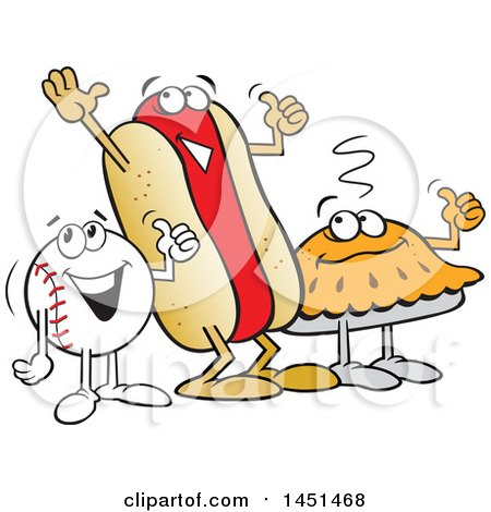 Clipart Graphic of a Cartoon Happy Baseball, Pie and Hot Dog Giving a Thumb up - Royalty Free Vector Illustration by Johnny Sajem