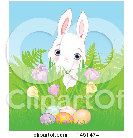 Clipart Graphic of a Cute White Easter Bunny Rabbit Behind Grass, a Cluster of Spring Crocus Flowers and Easter Eggs - Royalty Free Vector Illustration by Pushkin
