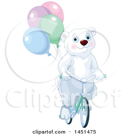 Clipart Graphic of a Cute Polar Bear Riding a Bicycle with Party Balloons - Royalty Free Vector Illustration by Pushkin