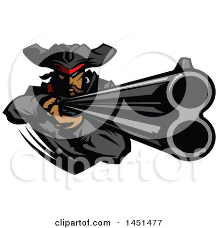 Clipart Graphic of a Tough Pirate Mascot Aiming a Rifle - Royalty Free Vector IllustrationRoyalty Free Clip Art Illustration of a by Chromaco
