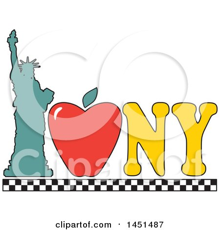 Clipart Graphic of a I Love New York Design with an Apple and Statue of Liberty - Royalty Free Vector Illustration by Maria Bell