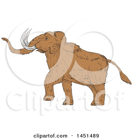 Clipart Graphic of a Drawing Sketch Styled Walking Woolly Mammoth - Royalty Free Vector Illustration by patrimonio