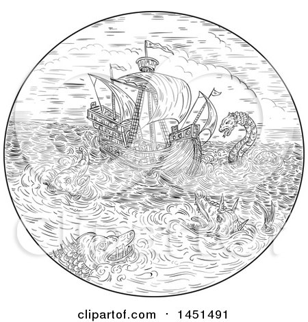 Clipart Graphic of a Black and White Drawing Sketch Styled Tall Ship in a Turbulent Ocean Sea with Attacking Serpents and Sea Dragons - Royalty Free Vector Illustration by patrimonio