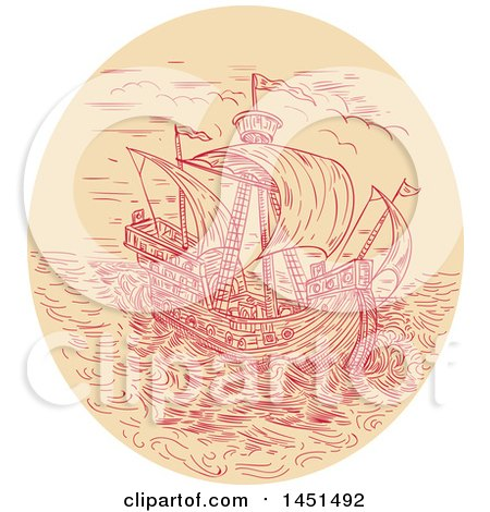 Clipart Graphic of a Drawing Sketch Styled Tall Ship in a Stormy Sea - Royalty Free Vector Illustration by patrimonio