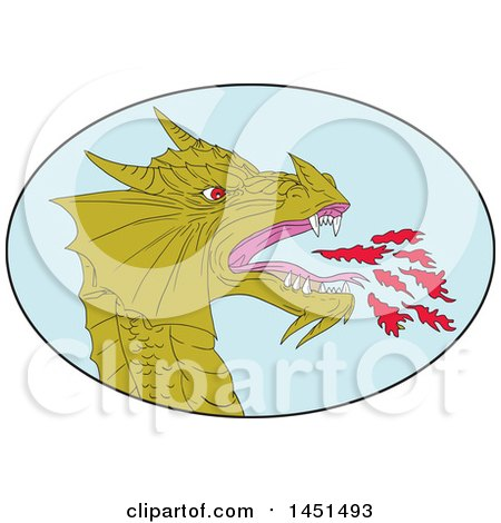 Clipart Graphic of a Drawing Sketched Styled Fire Breathing Dragon Head in a Blue Oval - Royalty Free Vector Illustration by patrimonio