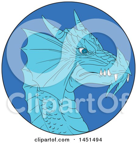 Clipart Graphic of a Drawing Sketched Styled Dragon Head in a Blue Circle - Royalty Free Vector Illustration by patrimonio