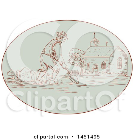 Clipart Graphic of a Drawing Sketch Styled Medieval Grave Digger Working in a Cemetery - Royalty Free Vector Illustration by patrimonio