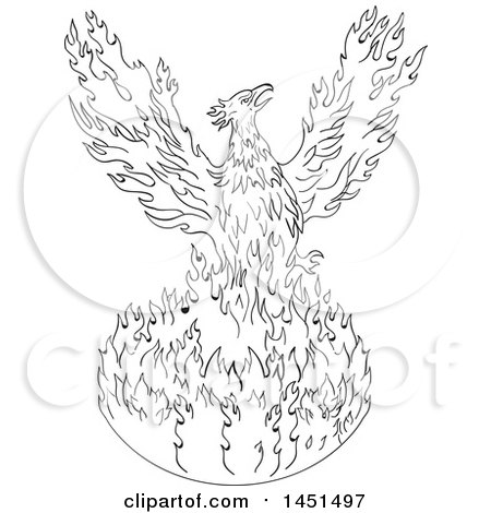 Black and white drawing sketch styled rising phoenix posters art prints