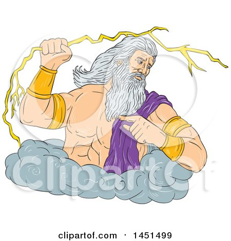 Drawing Sketch Styled Greek God Zeus Holding A Lightning