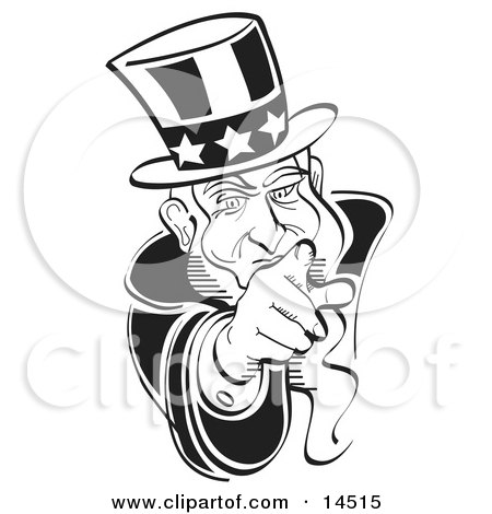 Black and White Uncle Sam Pointing Outwards Clipart Illustration by Andy Nortnik