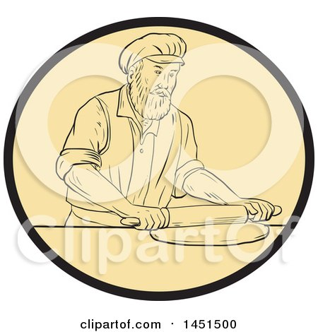 Clipart Graphic of a Drawing Sketch Styled Medieval Baker Rolling out Dough in an Oval - Royalty Free Vector Illustration by patrimonio