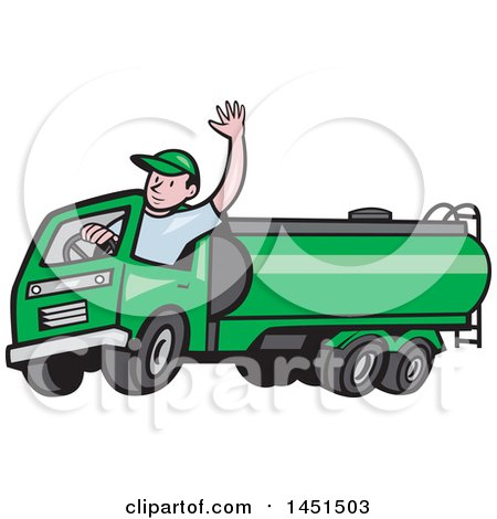Clipart Graphic of a Cartoon Friendly Caucasian Male Driver Waving and Driving a Green Petrol Tanker - Royalty Free Vector Illustration by patrimonio