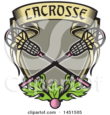 Clipart Graphic of a Retro Woodcut Pink Ball and Pink Handled Lacrosse Sticks with a Banner and Leaves - Royalty Free Vector Illustration by patrimonio
