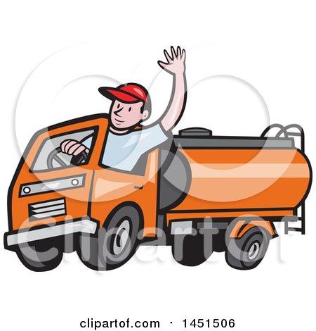 Clipart Graphic of a Cartoon Friendly Caucasian Male Driver Waving and Driving an Orange Tanker Truck - Royalty Free Vector Illustration by patrimonio