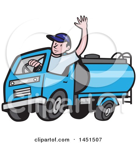 Clipart Graphic Of A Cartoon Friendly Caucasian Male Driver Waving And Driving A Blue Tanker Truck Royalty Free Vector Illustration