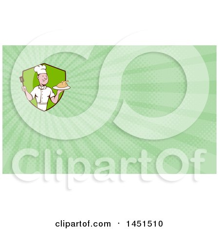 Clipart of a Retro Cartoon White Male Chef Holding a Spatula and Serving a Roasted Chicken and Green Rays Background or Business Card Design - Royalty Free Illustration by patrimonio