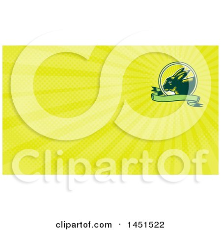 Clipart of a Retro Woodcut Rabbit in a Sunrise Circle with a Green Banner and Yellow Rays Background or Business Card Design - Royalty Free Illustration by patrimonio