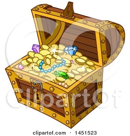 Clipart Graphic of a Cartoon Treasure Chest Full of Jewels and Coins - Royalty Free Vector Illustration by yayayoyo
