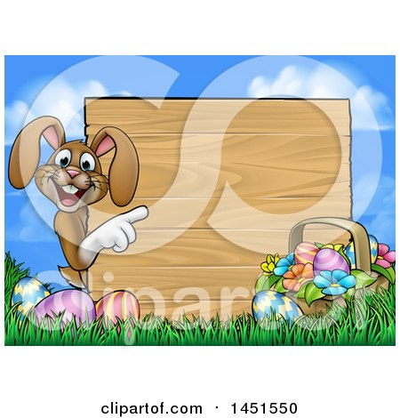 Clipart Graphic of a Cartoon Happy Brown Easter Bunny Rabbit Pointing Around a Wood Sign Against Sky - Royalty Free Vector Illustration by AtStockIllustration