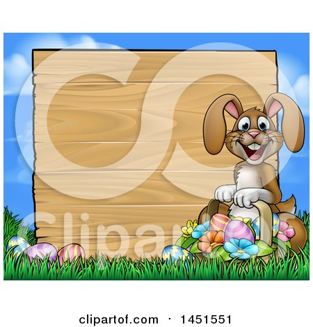 Clipart Graphic of a Cartoon Happy Brown Easter Bunny Rabbit Holding a Basket in Front a Wood Sign Against Sky - Royalty Free Vector Illustration by AtStockIllustration