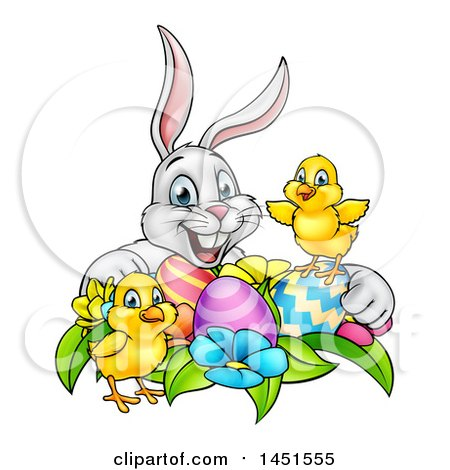 Clipart Graphic of a Cartoon Happy White Bunny Rabbit with Cute Yellow Chicks with Easter Eggs and Flowers - Royalty Free Vector Illustration by AtStockIllustration