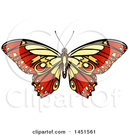 Clipart Graphic of a Beautiful Yellow and Red Butterfly or Moth - Royalty Free Vector Illustration by AtStockIllustration