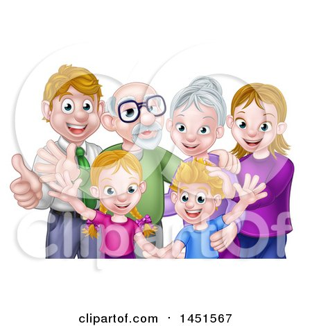Clipart Graphic of a Happy Caucasian Family with Children, Parents and Grandparents Waving and Giving Thumbs up - Royalty Free Vector Illustration by AtStockIllustration