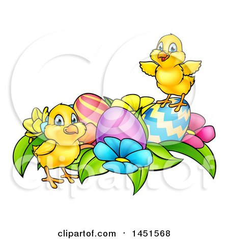 Clipart Graphic of Cartoon Cute Yellow Chicks with Easter Eggs and Flowers - Royalty Free Vector Illustration by AtStockIllustration