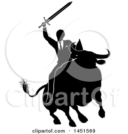 Clipart Graphic of a Black and White Silhouetted Business Man Holding a Sword and Riding a Stock Market Bull - Royalty Free Vector Illustration by AtStockIllustration