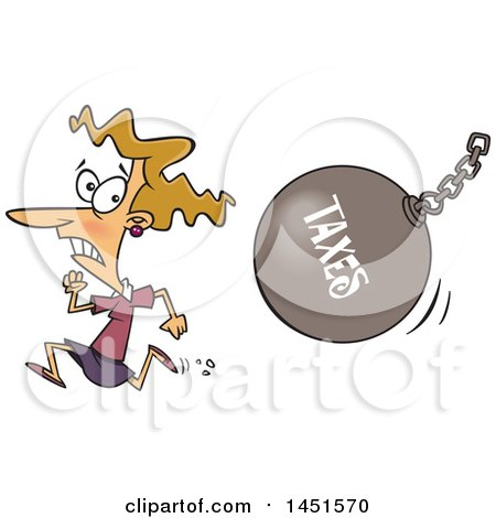 Clipart Graphic Of A Cartoon White Woman Running From A Taxes Wrecking Ball Royalty Free Vector Illustration