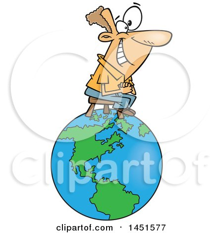 Clipart Graphic Of A Cartoon Happy White Man Sitting On Top Of The World Royalty Free Vector Illustration
