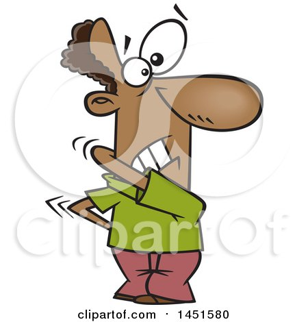 Clipart Graphic Of A Cartoon Black Man Trying To Itch His Back Royalty Free Vector Illustration
