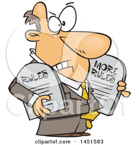 Clipart Graphic of a Cartoon White Business Man Carrying More Rules Tablets - Royalty Free Vector Illustration by toonaday