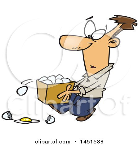 Clipart Graphic of a Cartoon White Man Dropping Eggs from a Basket - Royalty Free Vector Illustration by toonaday
