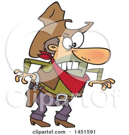Clipart Graphic of a Cartoon Angry Cowboy Man Ready to Draw His Guns - Royalty Free Vector Illustration by toonaday