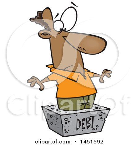 Clipart Graphic of a Cartoon Black Man Debtor Stuck in a Cement Block - Royalty Free Vector Illustration by toonaday