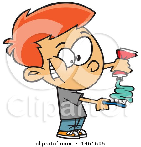 Clipart Graphic Of A Cartoon Red Haired White Boy Squirting Paste On His Toothbrush Royalty Free Vector Illustration