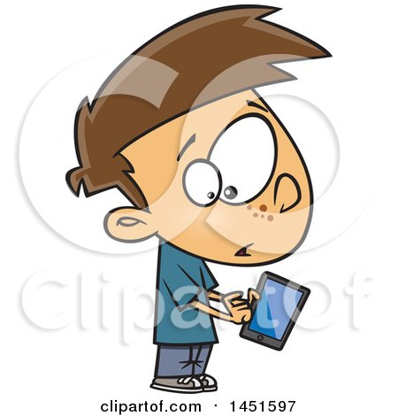 Clipart Graphic Of A Cartoon White Boy Warily Tapping A Tablet Computer Royalty Free Vector Illustration