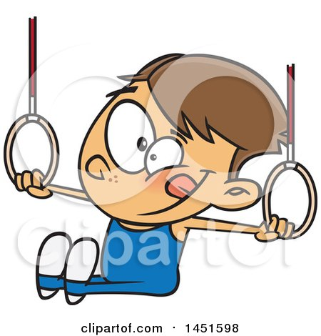 Clipart Graphic Of A Cartoon White Boy Gynmast Using The Rings Royalty Free Vector Illustration