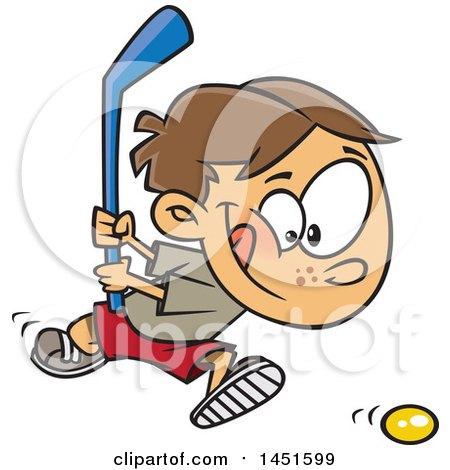 Cartoon White Boy Playing Floor Hockey Posters Art Prints By Interior Wall Decor 1451599