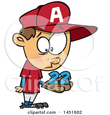 Cartoon White Boy Baseball Player Holding a Catch 22 Posters, Art Prints