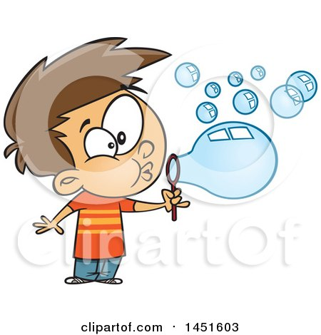 Clipart Graphic Of A Cartoon White Boy Blowing Bubbles Royalty Free Vector Illustration