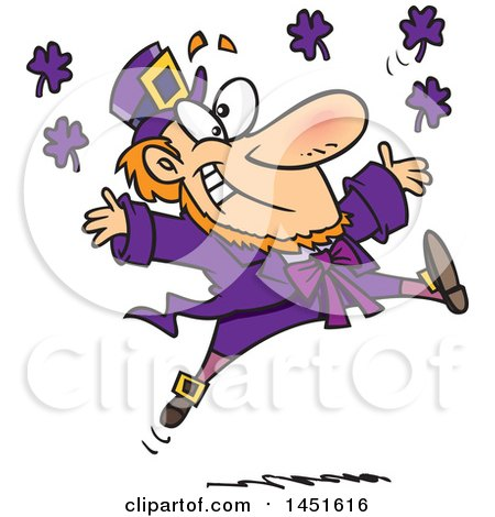 Clipart Graphic of a Cartoon Leaping Purple Leprechaun - Royalty Free Vector Illustration by toonaday
