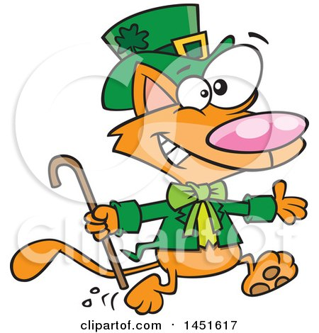 Clipart Graphic of a Cartoon Running St Patricks Day Ginger Leprechaun Cat - Royalty Free Vector Illustration by toonaday