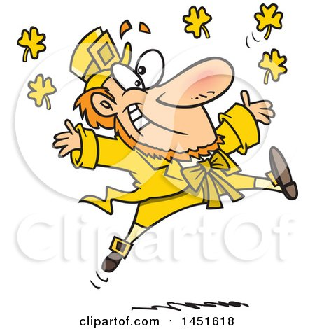 Clipart Graphic of a Cartoon Leaping Yellow Leprechaun - Royalty Free Vector Illustration by toonaday
