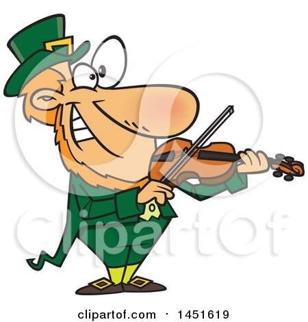 Clipart Graphic of a Cartoon Leprechaun Playing a Violin - Royalty Free Vector Illustration by toonaday