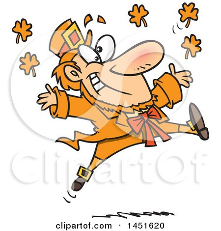 Clipart Graphic of a Cartoon Leaping Orange Leprechaun - Royalty Free Vector Illustration by toonaday
