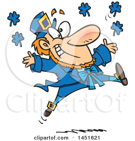 Clipart Graphic of a Cartoon Leaping Blue Leprechaun - Royalty Free Vector Illustration by toonaday