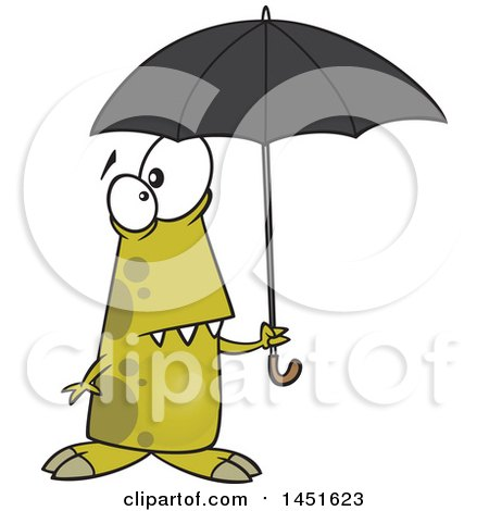Clipart Graphic of a Cartoon Shower Ready Monster Holding an Umbrella - Royalty Free Vector Illustration by toonaday